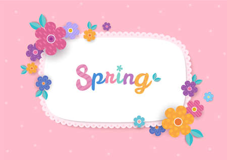 Illustration vector of floral and flower frame design for spring on pink background.