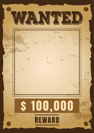Wanted template blank vintage poster