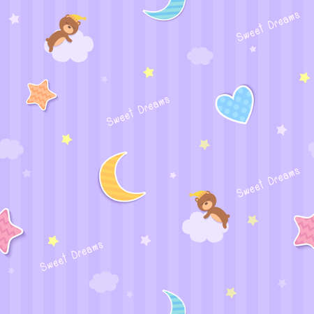 Sweet dreams wallpaper seamless pattern design with teddy bear on purple background
