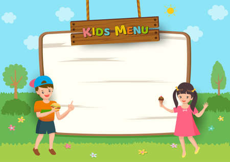 Kids Menu frame design with boy and girl on nature background.