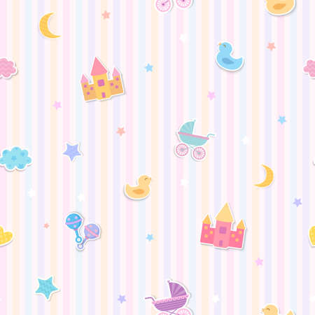 Illustration vector of baby toys design to seamless pattern 矢量图像