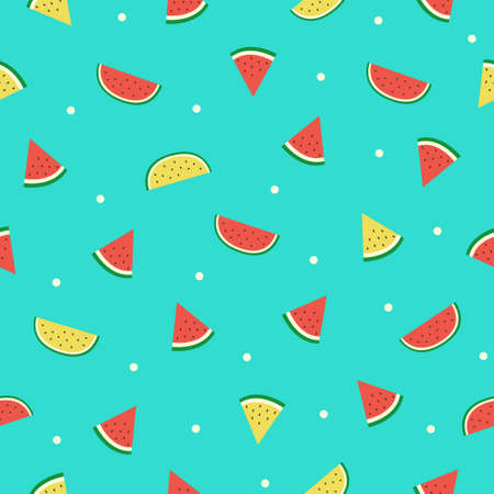 Watermelon slice seamless pattern on green background. 矢量图像