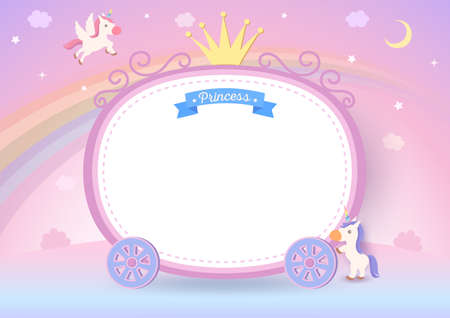 Illustration of princess cart frame with unicorns on pastel rainbow background.