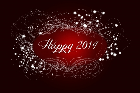 gleaming: Sparkling, gleaming, glistening, gorgeous, Happy New Year 2014 Stock Photo