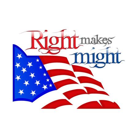 might: Right makes might illustration