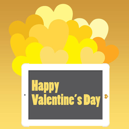 Valentine s Day Message on a business tablet, touch for joy