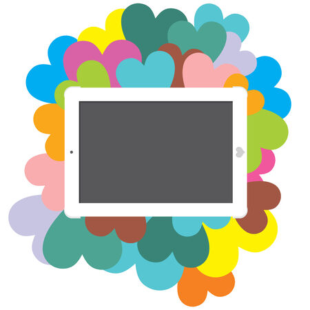 Business tablet surrounded by hearts with a blank space to write on Stock Photo