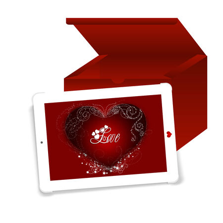 Business tablet with a Valentine Day message, Touch of Love Stock Photo