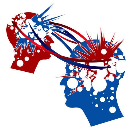 지식 이전은 상징적으로 빨간색과 파란색 색상에 묘사