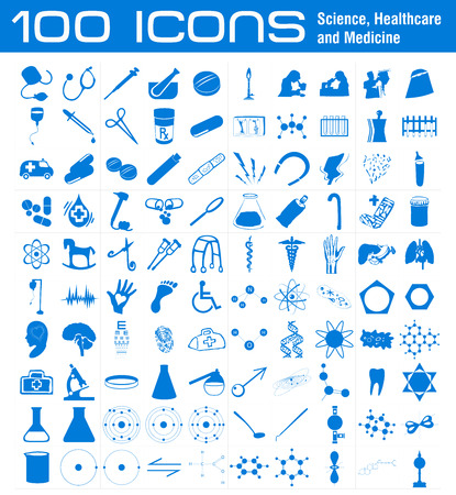 liquid x: 100 Icons related to Science, Healthcare and Medicine Stock Photo