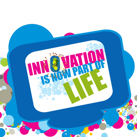 Innovation is now part of Life  text on a colorful techno background photo