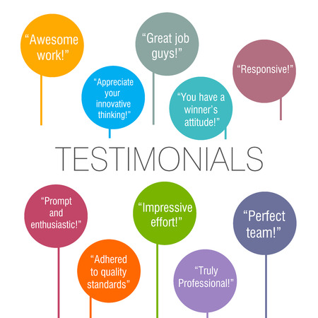 Generic testimonials from various clients displayed on a colorful background