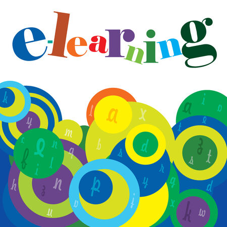 elearning: e-Learning course background with a caption and alphabets on funky, colorful clouds