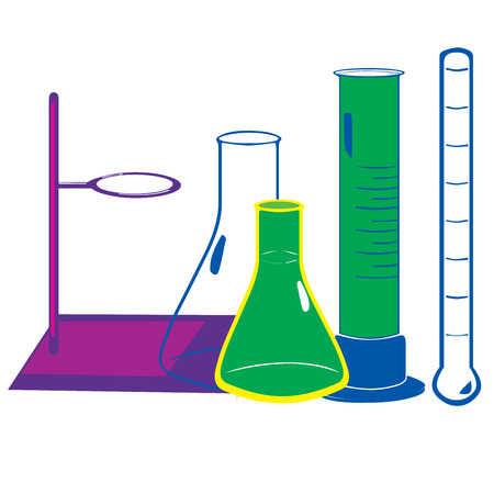 volumetric flask: Illustration of Laboratory equipment Stock Photo