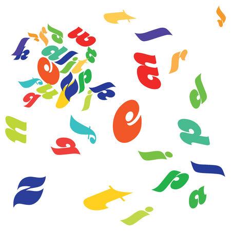randomly: Letters scattered randomly on a white background