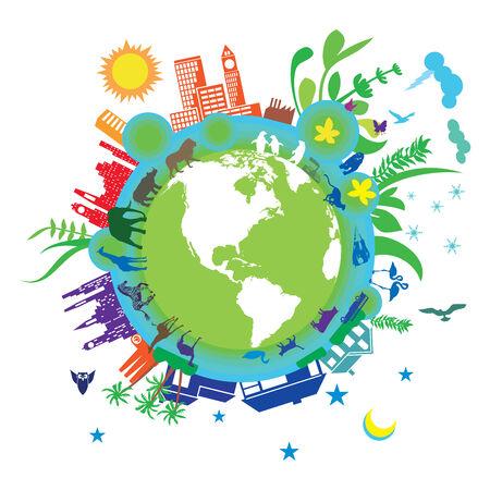 ciclo de vida: Resumen de la ilustración de la ecología representa sobre un fondo blanco