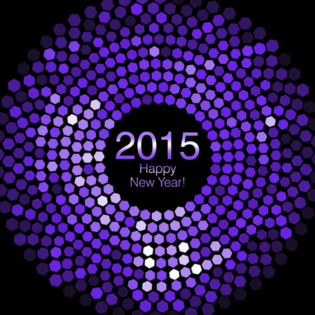 Happy New Year 2015 - Hexagon Disco lights Stock Photo