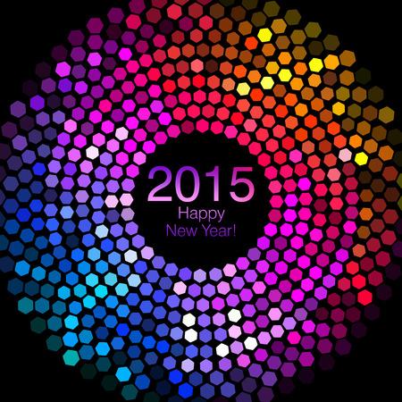 disco lights: Happy New Year 2015 - Hexagon Disco lights Stock Photo