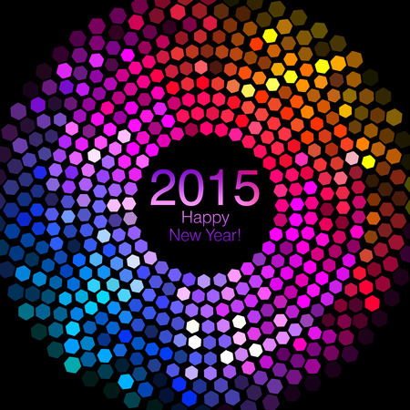 Happy New Year 2015 - Hexagon Disco lights Banco de Imagens