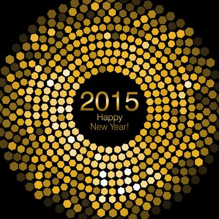 Gelukkig Nieuwjaar 2015 - Hexagon Disco verlichting Stockfoto - 32758619