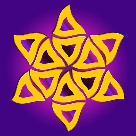 estrella de david: Feliz Purim. Una representación abstracta de pasteles triangulares, Hamantaschen