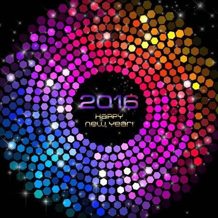 fiestas electronicas: Feliz A�o Nuevo 2016 - Luces Hex�gono Disco