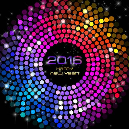 Happy New Year 2016 - Hexagon Disco lights