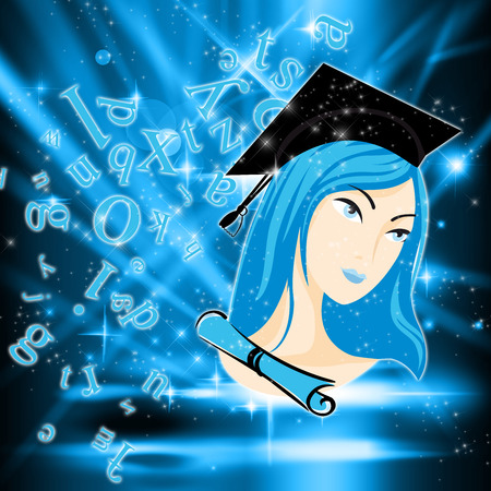 baccalaureate: Spotlight on a Genius Student Stock Photo