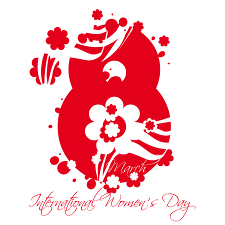 femininity: International Womens Day Greeting card or poster with text March 8th Stock Photo