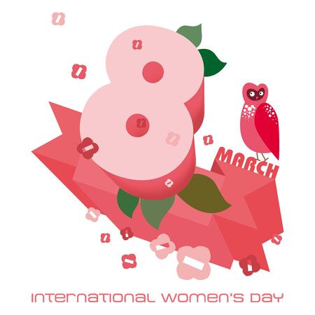 International Womens Day Greeting card or poster with text March 8th Stock Photo
