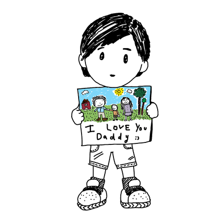 mummy: Little boy holding a note for Fathers day