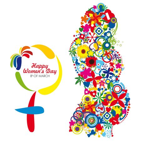 An abstract pregnant woman represented by colorful elements, honoring the occasion of Womans Day