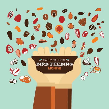 Hands holding a card with the text on National Bird Feeding Month