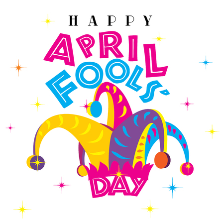 Happy April Fools Day on a white isolated background Stockfoto