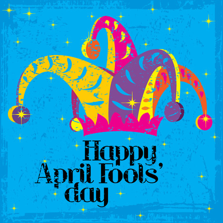 first day: Happy April Fools Day on a colorful grungy background with sparkles Stock Photo