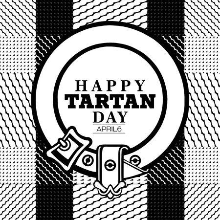 observance: The text Happy Tartan day placed on a Scottish tartan pattern