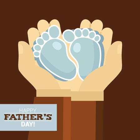 foot marks: A father holding blue baby footprints on palm with the lettering Happy Fathers day