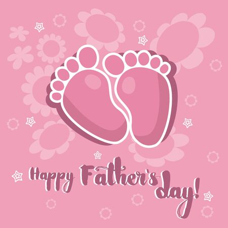foot marks: Baby footprints on a pink flowered background with the lettering Happy Fathers day