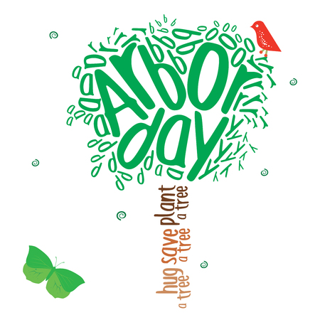 arbor: Typography design in the shape of a tree in celebration of Arbor day