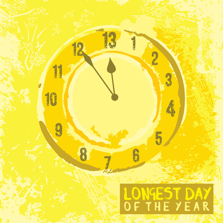 solstice: A poster design with a clock for summer solstice day in June on a yellow background