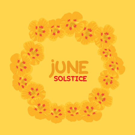 solstice: An floral illustration for summer solstice day in June on a yellow background
