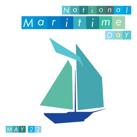 An abstract illustration on National Maritime Day with a boat symbol