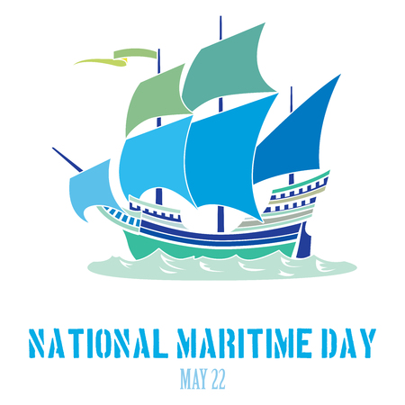 mooring anchor: An abstract illustration on National Maritime Day with an iconic steam boat