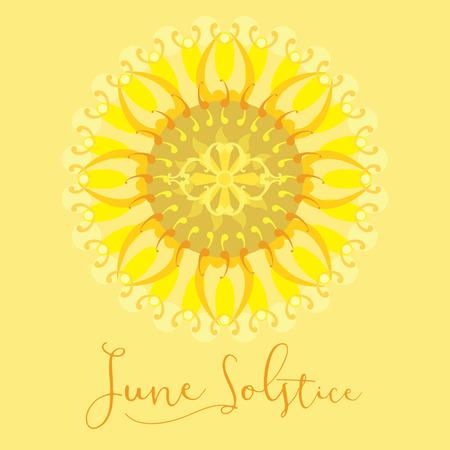 노란색 배경 6 월에 여름 최고점 하루 기하학적 디자인