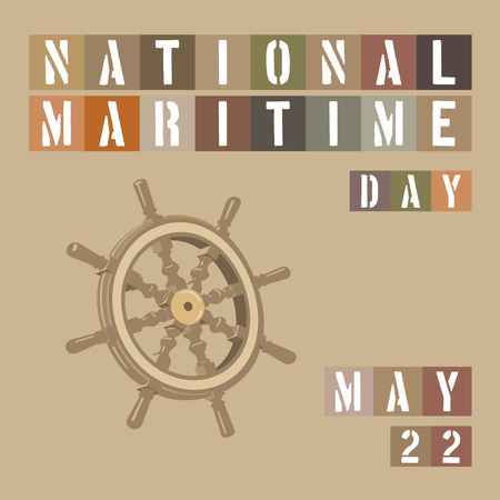 mooring anchor: An abstract illustration on National Maritime Day on a beige colored background