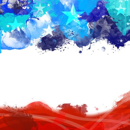 현충일에 미국 국기의 색깔을 가진 헤더 바닥 글 그림