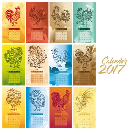 new year card: Chinese New Year Calendar artwork for the year of Rooster Stock Photo