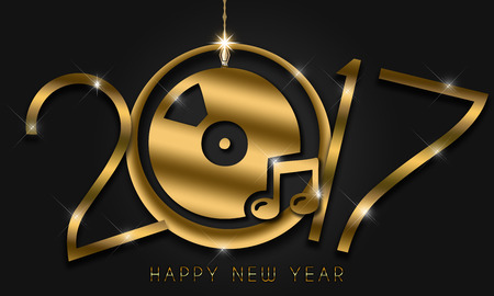 mnemonic: Gold New Year numerals on a black background in a club theme