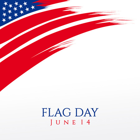 A header illustration with United States flag colors on Flag Day Archivio Fotografico