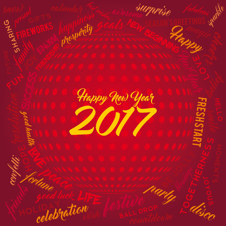 fresh start: New Year word cloud on a red background with disco ball